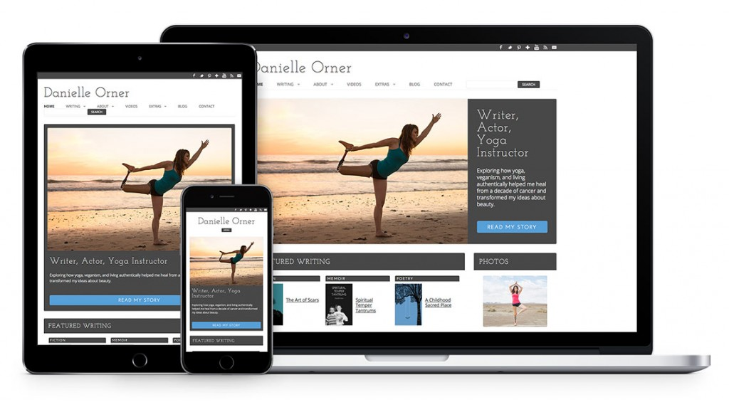 Writer, yoga instructor website design by Kat Love